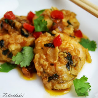 Monkfish Cheeks (or Lobster) in a Chili Coriander Sauce.