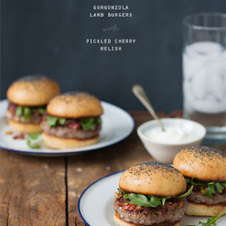 Gorgonzola Lamb Burgers with Pickled Cherry Relish Recipe