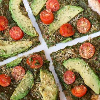 Green Goddess Pizza with Vegan Parmesan Cheese.