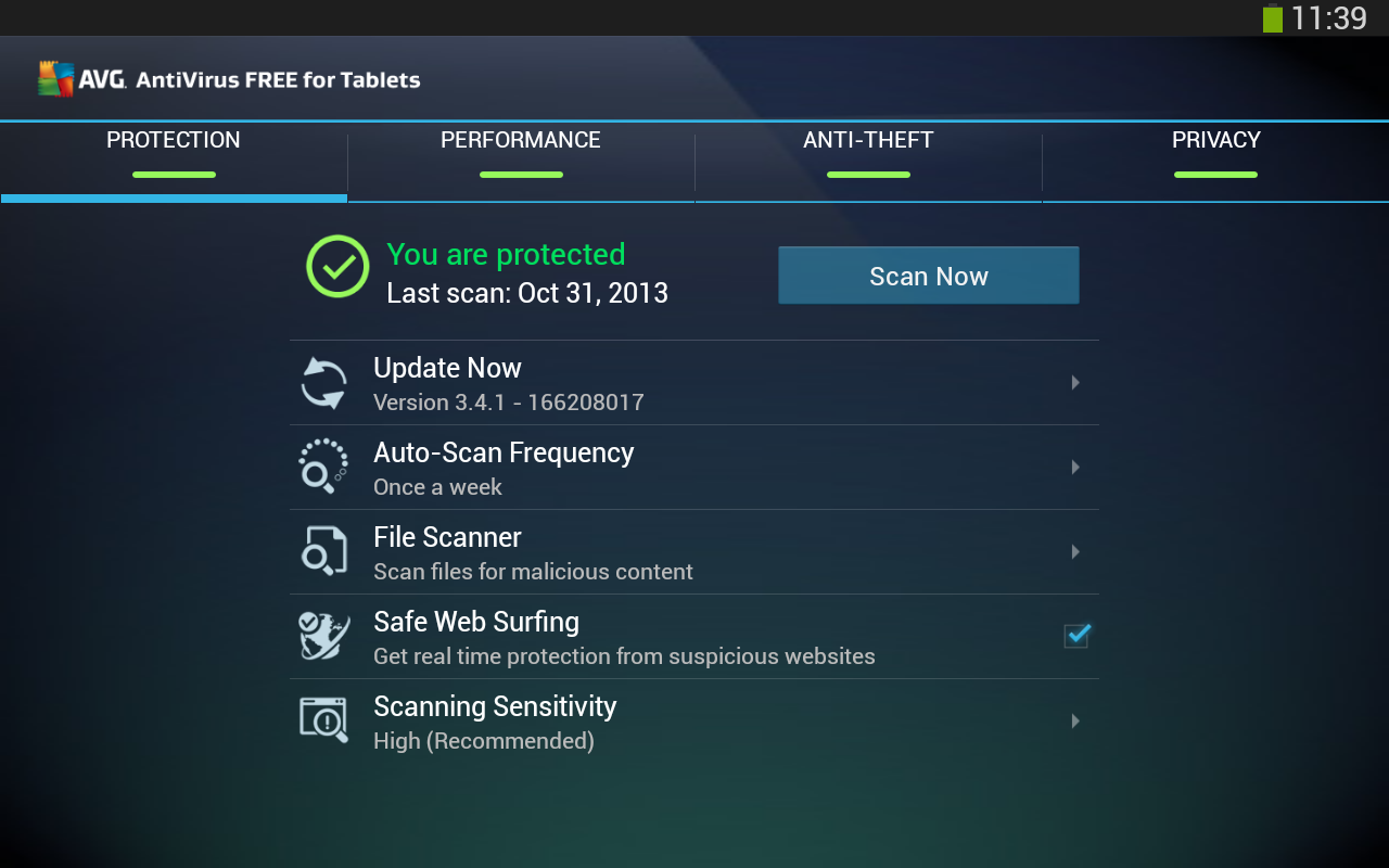 FREE Tablet AntiVirus Security - screenshot
