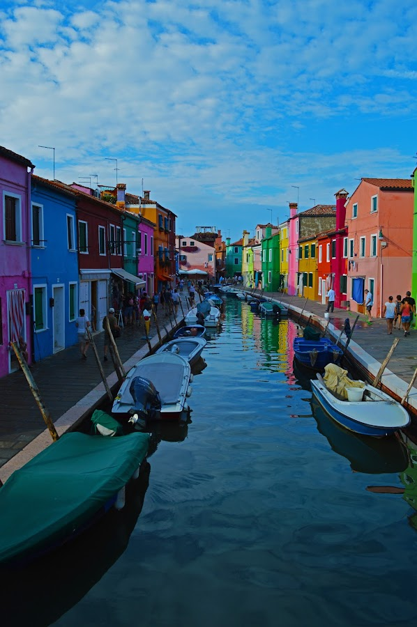 Canal in Burano by Marieke Fechner - City,  Street & Park  Neighborhoods ( coloured, street, venice, burano, canal, colours,  )
