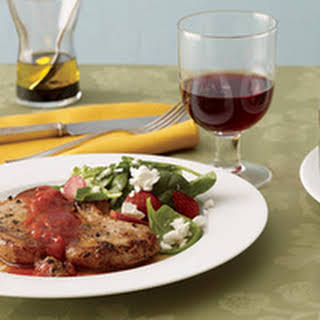 Ginger Pork Chops with Spinach Salad.