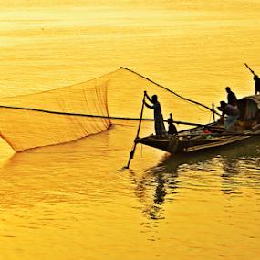 Fishing in the golden river by Saptak Banerjee - Transportation Boats ( twilight, fishing, boat, evening, golden, , villes, rencontres, continents, découvertes curiosités, personnes, marchés )