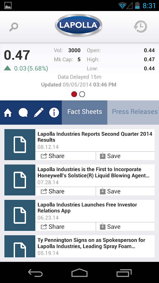 Lapolla Investor Relations - screenshot