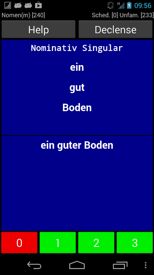 German Declension Trainer - screenshot