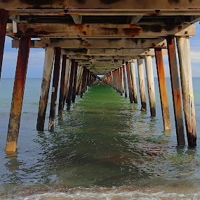 Henley Jetty by Pamela Howard - Buildings & Architecture Bridges & Suspended Structures ( sand, henley beach, sea, beach, jetty,  )