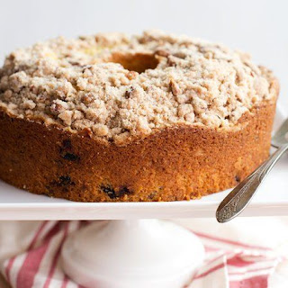 Brown Butter-Bourbon-Cherry Coffee Cake with Pecan Streusel.