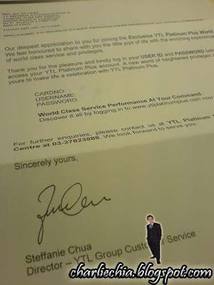 Charlie Chia: Platinum Plus Membership Granted