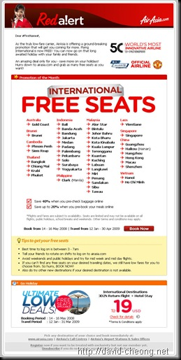 Air Asia International Free Seat