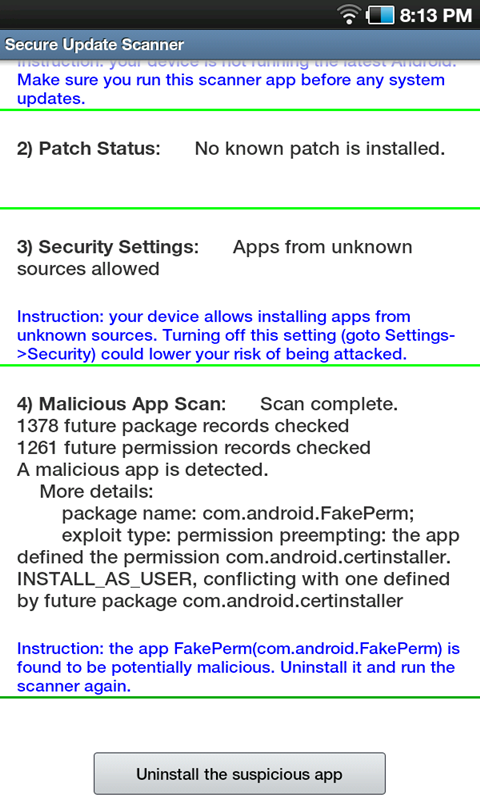 Secure Update Scanner - screenshot