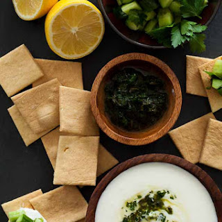 Creamy Whipped Feta Dip Recipe with Mint Parsley Pesto and Cucumbers