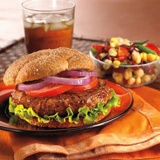 Barbecued Turkey Burgers with Three-Bean Salad.