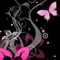 Butterfly Fly On Pink Flower logo