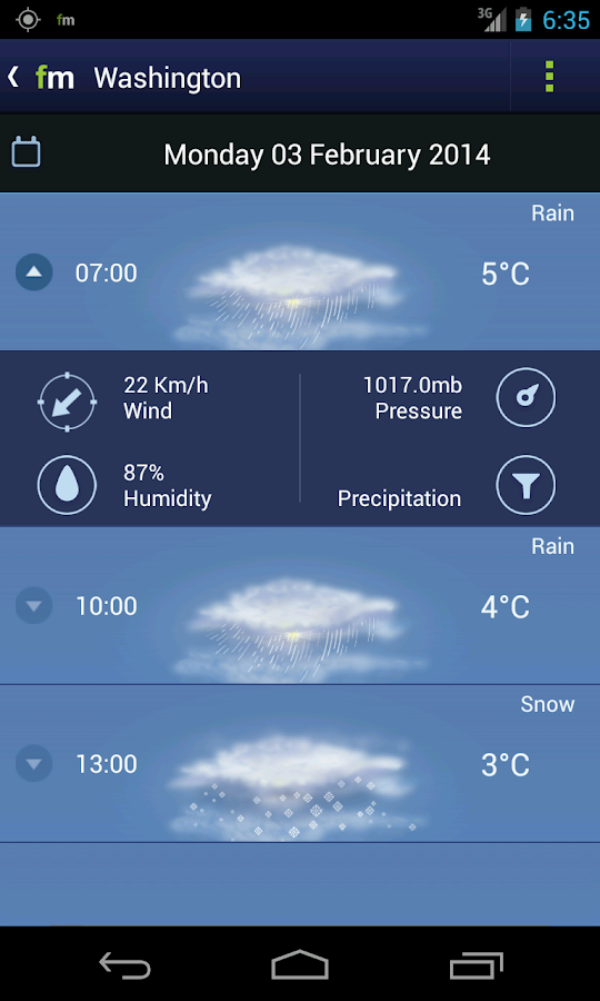 Freemeteo- screenshot