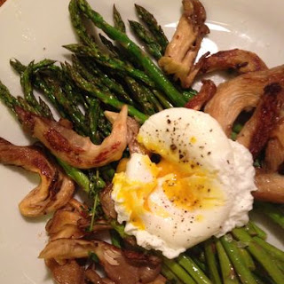 Roasted Asparagus + Oyster Mushrooms + Poached Egg.