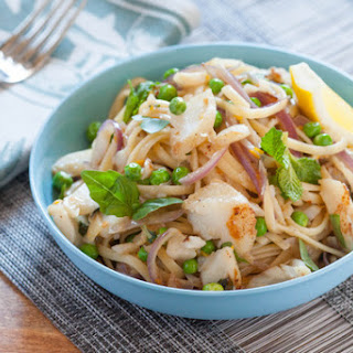 Cod over Linguini with Fresh Peas, Meyer Lemon & Spring Herbs