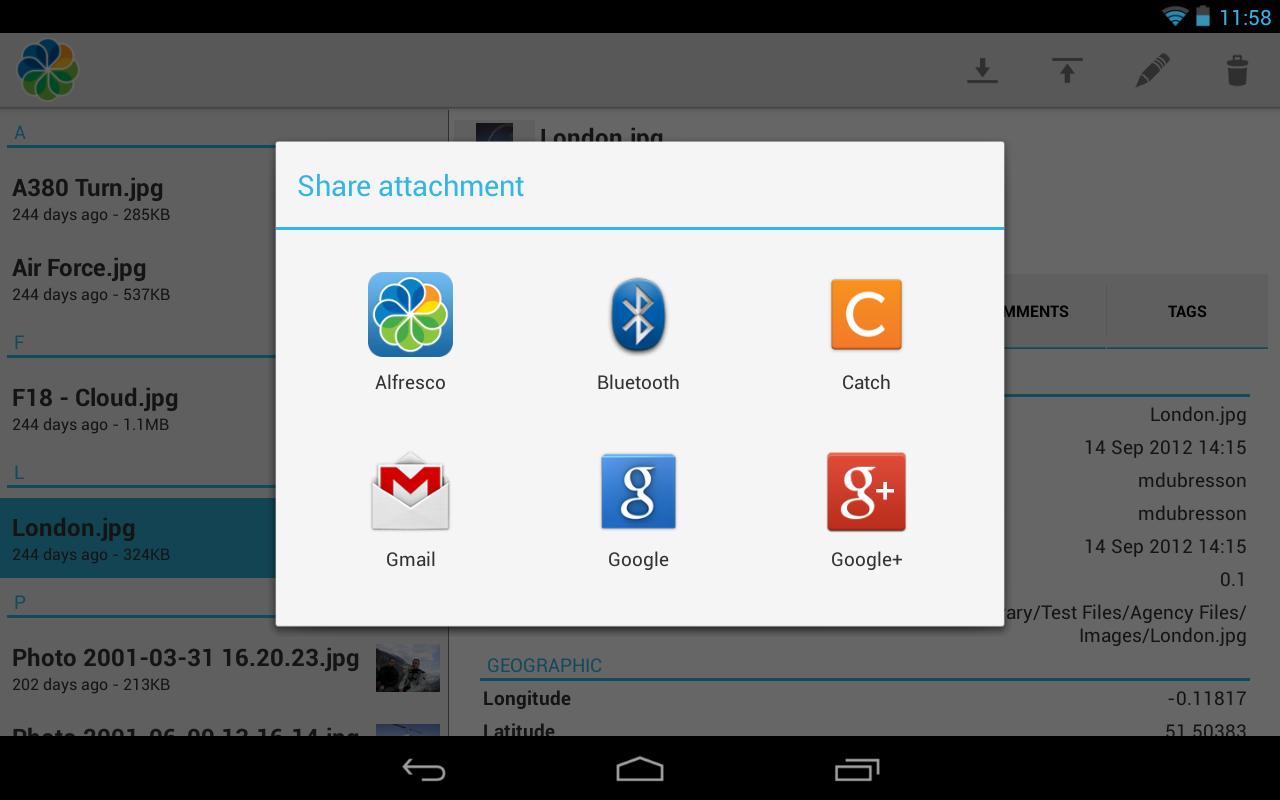 Alfresco - screenshot