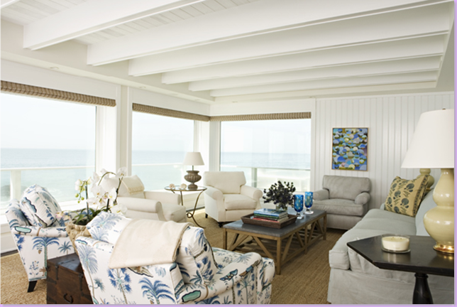 This Close Up Of A Living Room Reveals The House Is On Beach Probably In Malibu Just Beautiful Blues And White Seagrass Matting Over Dark