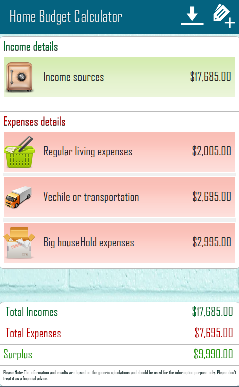 Home Budget Calculator - screenshot