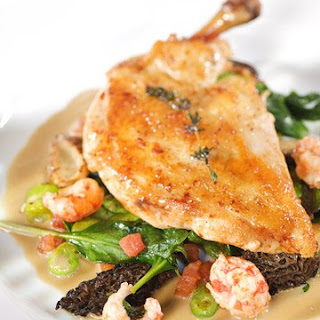Roasted Chicken Breasts with Crayfish, Fava Beans, and Morels.