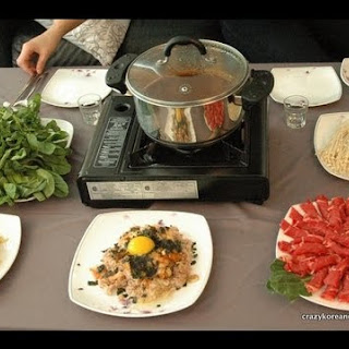 Korean Style Beef & Mushroom Hot Pot, Shabu Shabu.