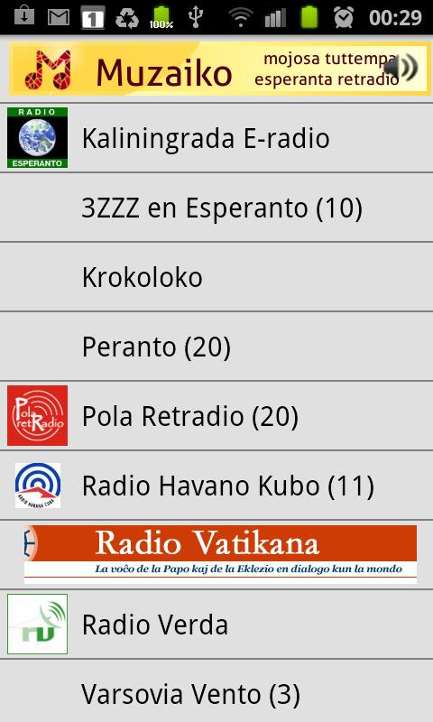 Esperanto-radio Muzaiko- screenshot