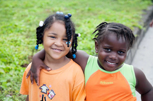 Two local girls on St. Eustatius. The island, discovered in 1493 by Christopher Columbus, has been claimed by many nations over the years, giving it a diverse, rich heritage.