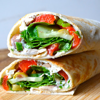 Greek Salad Wraps with Roasted Red Peppers.