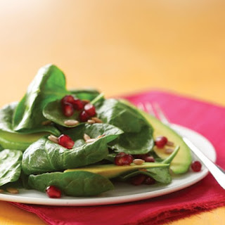 Spinach Salad with Pomegranate and Avocado.