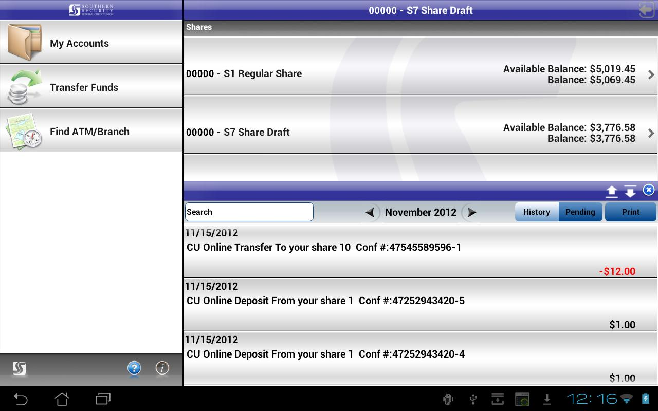 SSFCU Tablet Mobile Banking - screenshot