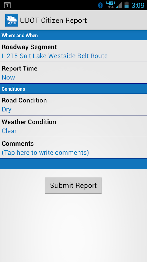UDOT Citizen Reports- screenshot