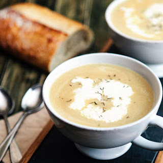 Caramelized Onion and Parsnip Soup with Chickpeas