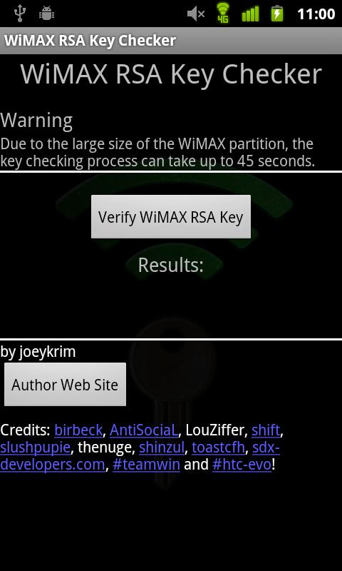 WiMAX Key Checker - screenshot