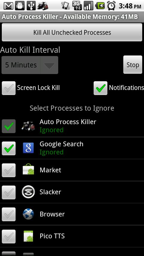 Auto Process Killer Free -1.5+- screenshot