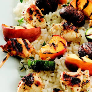 Grilled Chicken and Peach Kabobs.