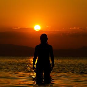 Aphrodite... by Elias Spiliotis - People Portraits of Women ( clouds, silhouette, sunset, woman, greece, tones, sea, summer, people, shadows, sun, colours,  )