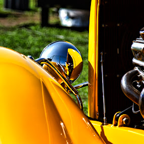 Hot Rod in Yellow by Lenny Sharp - Transportation Automobiles ( car, engine, yellow, hot rod, classic )