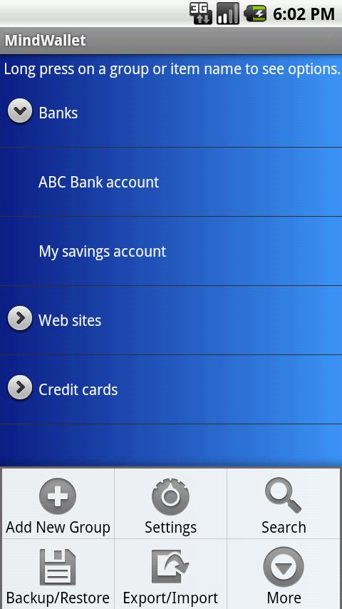 MindWallet Tablet - screenshot