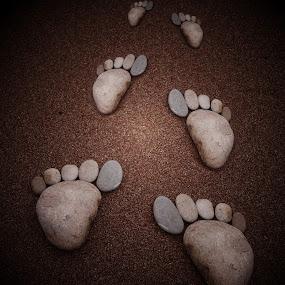 Footprints in the sand  by JCstudios by John Cuthbert - Abstract Patterns ( wall art, foot, framed print, art, jcstudios, stone, feet, pebbles, footprint, cute, rocks, copy )