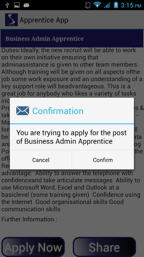 Apprentice App- screenshot
