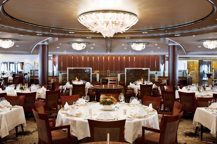 The tastefully appointed Crystal Dining Room aboard Crystal Symphony.