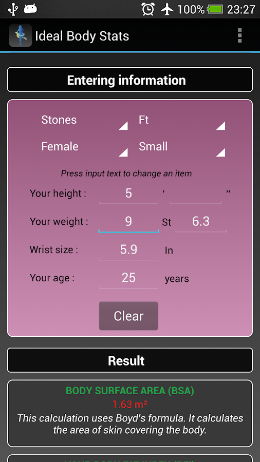 Ideal Weight BMI Adult & Child- screenshot