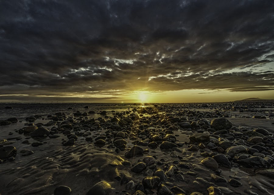 Thorney Nook by Graham Kidd - Landscapes Sunsets & Sunrises ( clouds, sand, sunset, rocks, golden )
