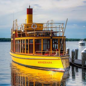 Lake Cruiser by Chuck Mason - Transportation Boats ( water, lake, yellow, transportation, boat )