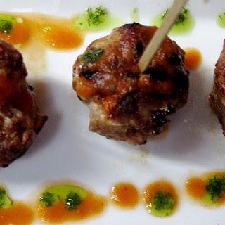 Chorizo-Style Meatballs with Tomatillo-Avocado Salsa.