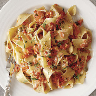 Pappardelle with Creamy Smoked Salmon, Caper, and Dill Sauce.