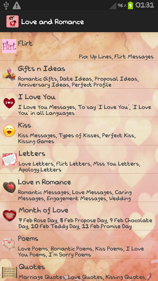 love letters romantic quotes screenshot