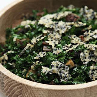 Kale chopped salad with pan-roasted Portobello and Parmesan-sesame crisps