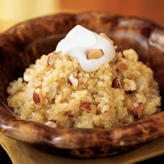 Quinoa and Onion Risotto with Crème Fraîche and Hazelnuts.