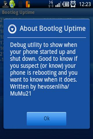 Bootlog Uptime- screenshot
